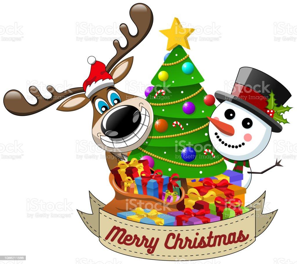 Souhaiter Joyeux Noel.Dessin Anime Drole Renne Et Du Bonhomme De Neige Souhaiter