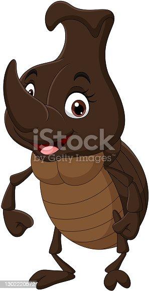 istock Cartoon funny rhinoceros beetle on white background 1302220572