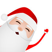 Cartoon funny santa claus waving hand isolated on white background