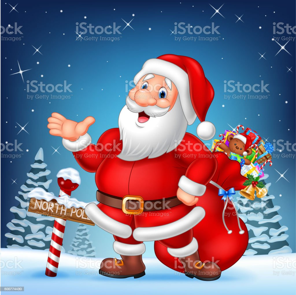 Cartoon funny Santa presenting with a north pole wooden sign vector art illustration