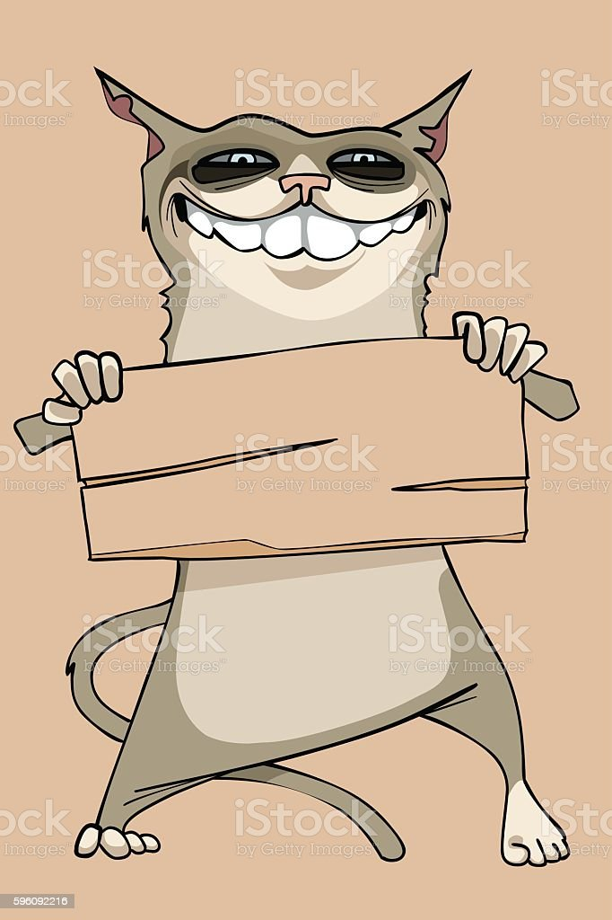 cartoon funny smiling cat holding a blank wooden sign royalty-free cartoon funny smiling cat holding a blank wooden sign stock vector art & more images of animal