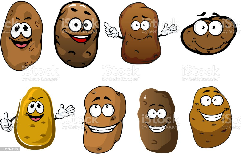 Cartoon funny smiling potatoes vegetables vector art illustration