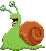 Cartoon funny snail isolated on white background