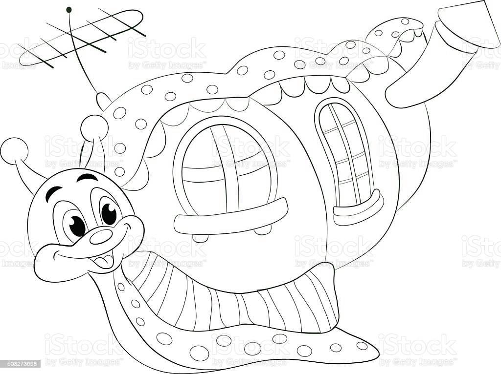 Cartoon Funny Snail With House Coloring Book Stock Vector Art & More ...