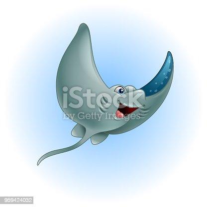 Ilustración de Stingray Divertido Dibujos Animados y más banco de ...