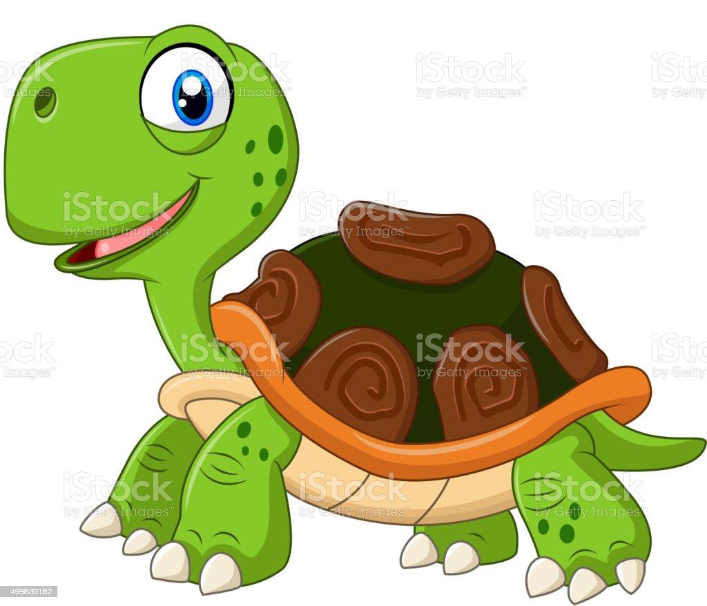 Cartoon funny turtle isolated on white background vector art illustration