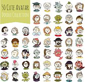 Cartoon funny user avatars in trendy hand drawn doodle style. Set of women, men character faces with different emotions, professions, hobby. Cute vector illustration isolated on white. All people organized in groups for easy editing.