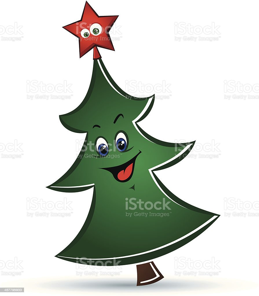 Cartoon funny vector Christmas tree royalty-free stock vector art