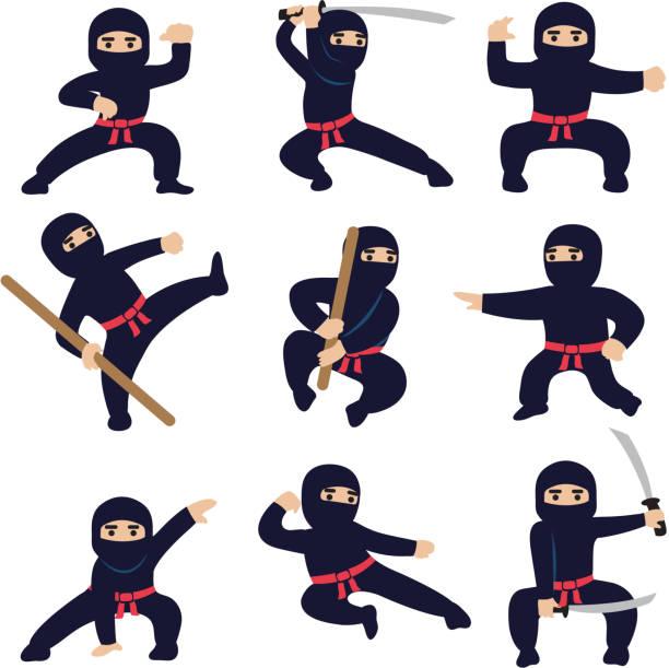 漫画の面白い戦士。忍者や侍のベクトル文字 - 武道点のイラスト素材/クリップアート素材/マンガ素材/アイコン素材