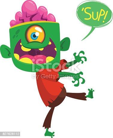 Cartoon funny zombie  Halloween vector illustration.