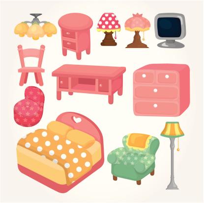 Cartoon Furniture icons set