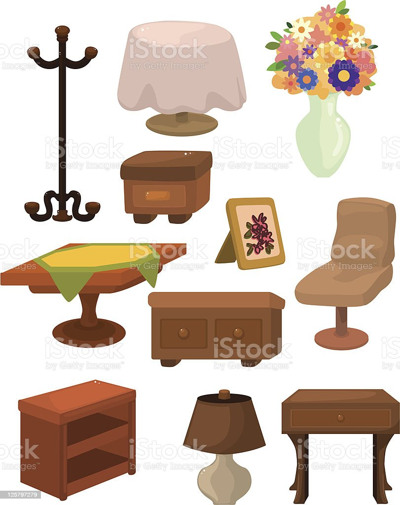 cartoon furniture icons set royalty-free stock vector art