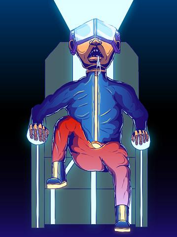 Cartoon futuristic illustration - Man of the future in a virtual reality helmet.
