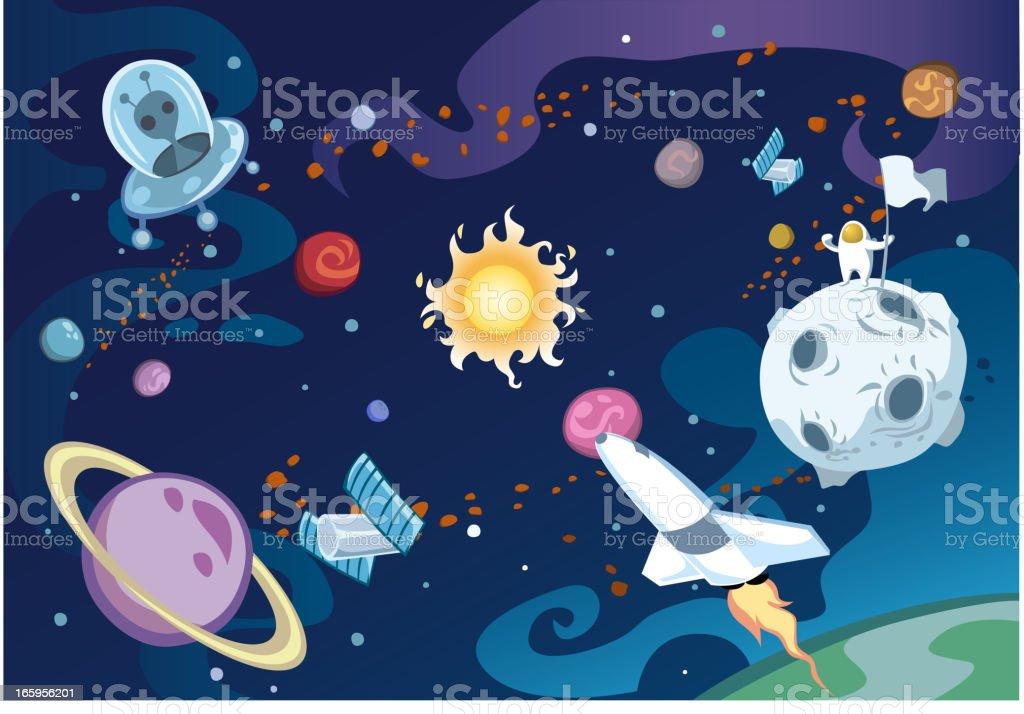 Cartoon galaxy vector art illustration