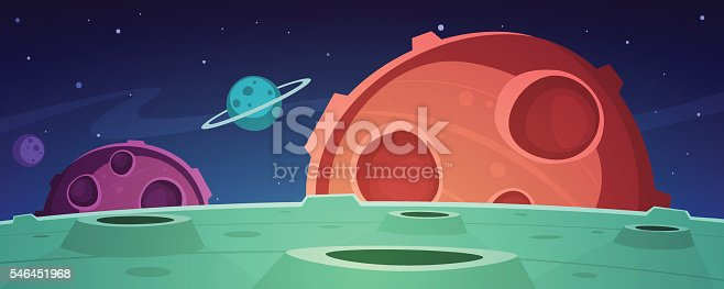 Cartoon illustration of the outer space with planets.