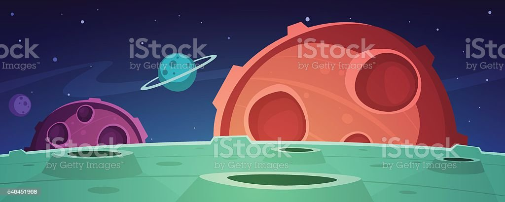 Cartoon Game Space Background – Vektorgrafik