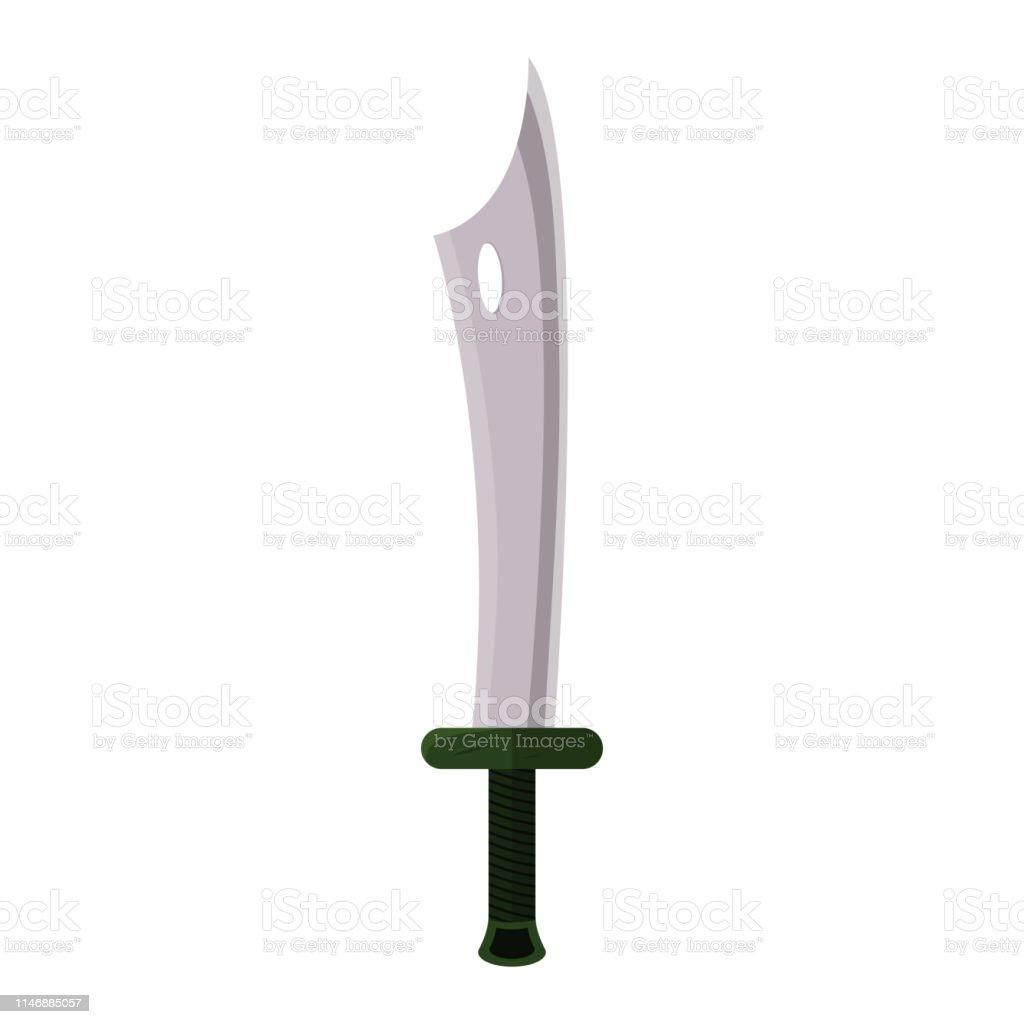 d2eba02bad Arma da espada do jogo dos desenhos animados isolada no fundo branco. Punho  verde.