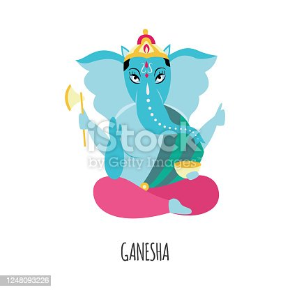 Cartoon Ganesha with blue elephant head - Hinduism religion figure with four arms sitting in lotus pose holding axe and bowl. Flat isolated vector illustration of Hindu god