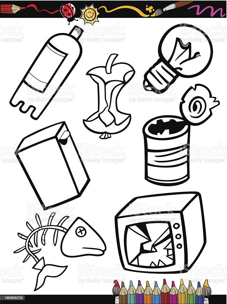 Ilustración De Página Para Colorear De Historieta Objetos De La