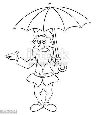 Cartoon Garden Gnome Standing Under An Open Umbrella Stock Vector Art More Images Of Beard 936409288