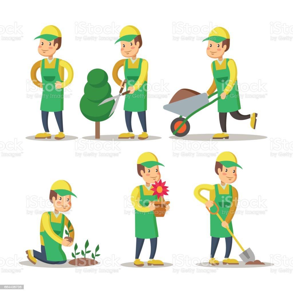 Dessin animé de jardinier, plantation de végétaux. Jardinage - Illustration vectorielle