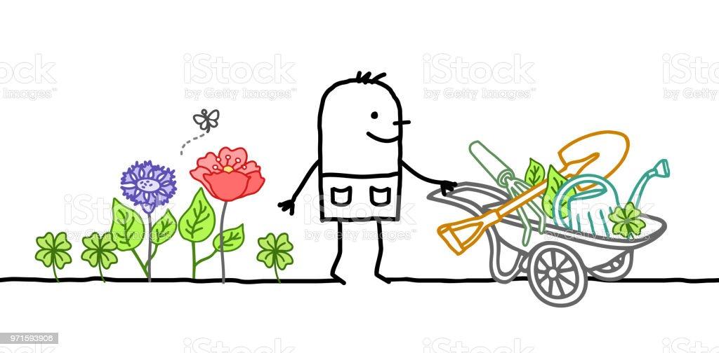 Jardinier Avec La Brouette Les Fleurs Et Les Outils De