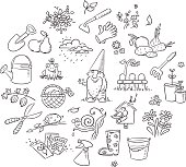 Set of cartoon gardening tools, plants and animals, fruit and vegetables, black and white outline