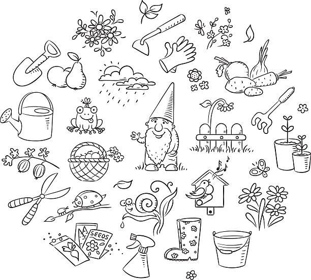 Cartoon Gardening Set, Black and White vector art illustration
