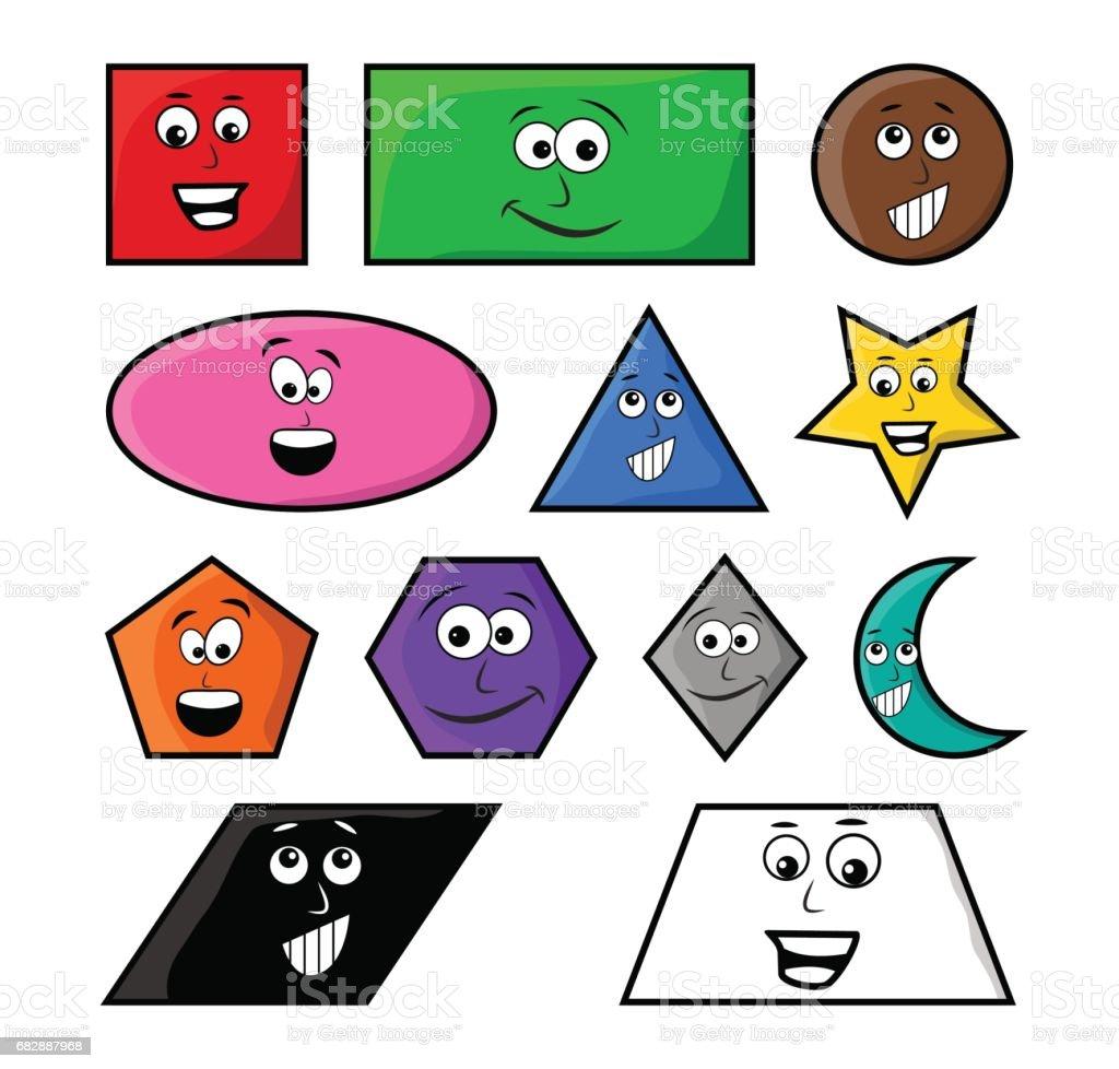 Cartoon geometrische Formen mit Lächeln-Vektor-Symbol-Icon-Design. Lizenzfreies cartoon geometrische formen mit lächelnvektorsymbolicondesign stock vektor art und mehr bilder von abstrakt