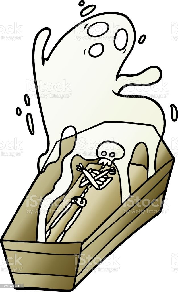 cartoon ghost and coffin vector art illustration