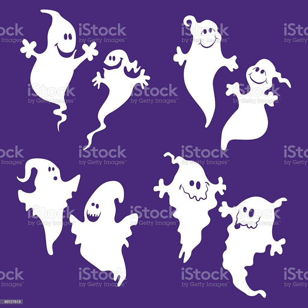 Cartoon ghosts on blue background royalty-free cartoon ghosts on blue background stock vector art & more images of anthropomorphic smiley face