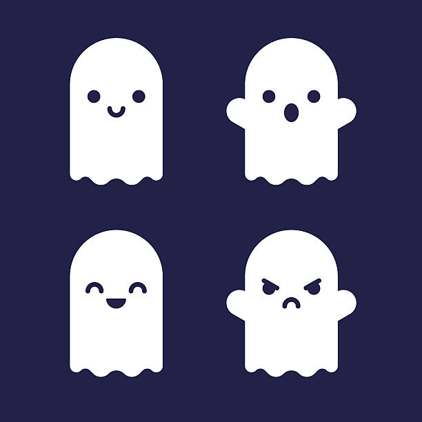 Cartoon ghosts set Cute Halloween cartoon ghosts. Flat vector icon set. ghost icon stock illustrations
