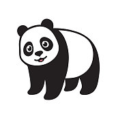Stylized Giant panda full body drawing. Simple panda bear icon design. Black and white vector illustration.