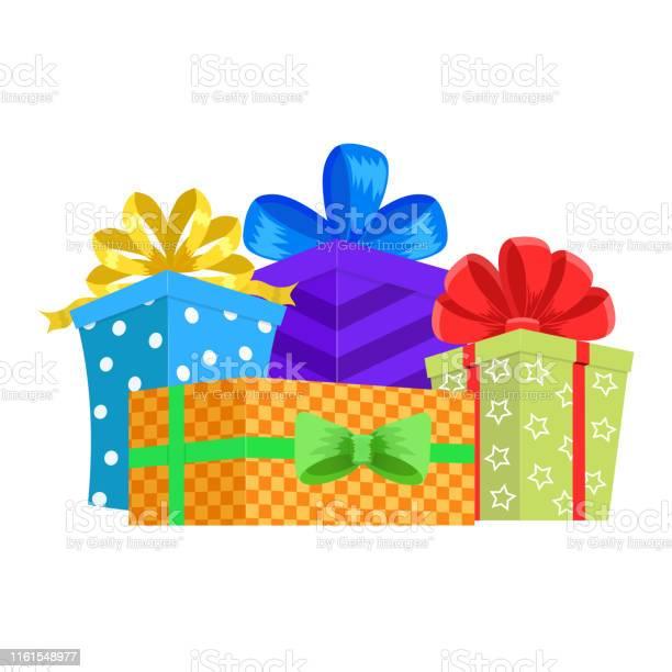 Cartoon Gift Box Christmas Present Gifting Box And Xmas Present Winter Holidays Or Birthday Party Gift