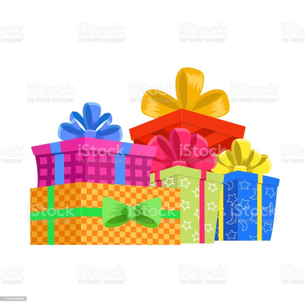 Cartoon gift box. Christmas present, gifting box and xmas present...