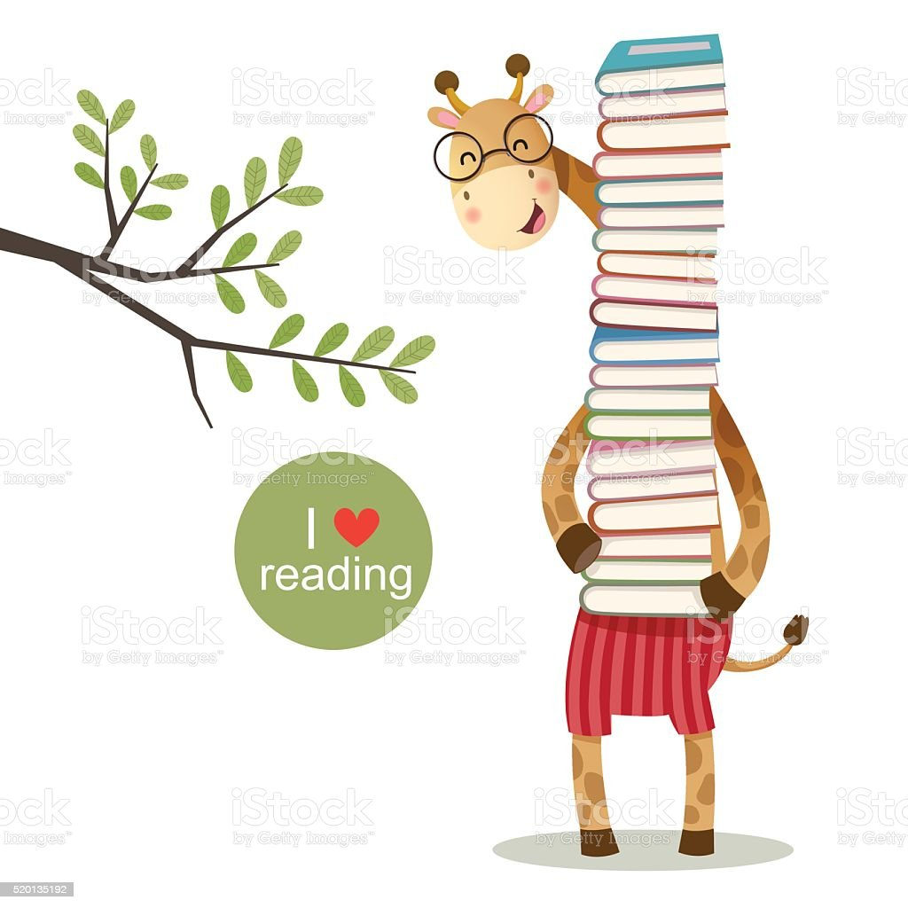 Cartoon giraffe holding a pile of books vector art illustration