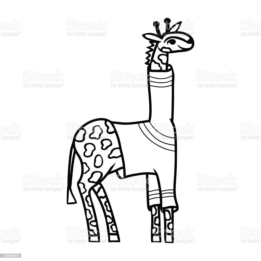 Comic Giraffe In Pullover Schwarz Und Weiß Färbung Seite Stock ...