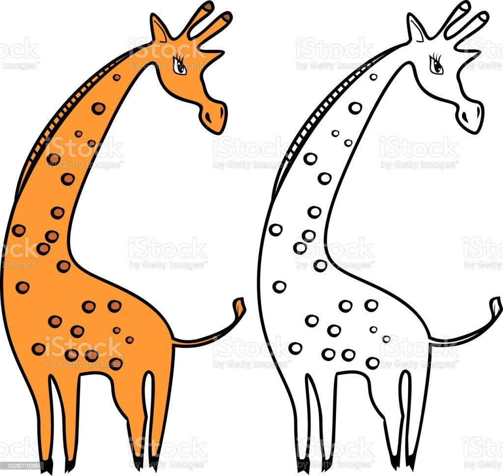 Ilustracion De Jirafa De Dibujos Animados De Color Naranja Sobre