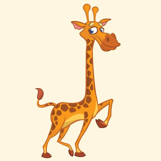 cartoon-giraffe. vektor-illustration der lustige süße giraffe. -t-shirt mock-up oder aufkleber für kinderbuch drucken - giraffenhumor stock-grafiken, -clipart, -cartoons und -symbole