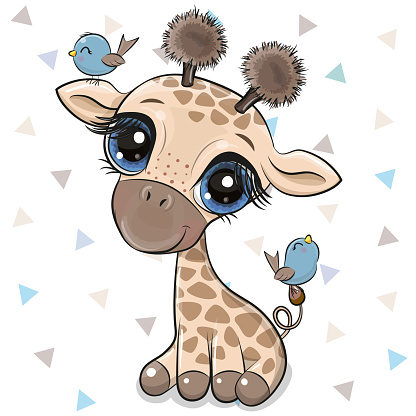 Cartoon Giraffe with two birds