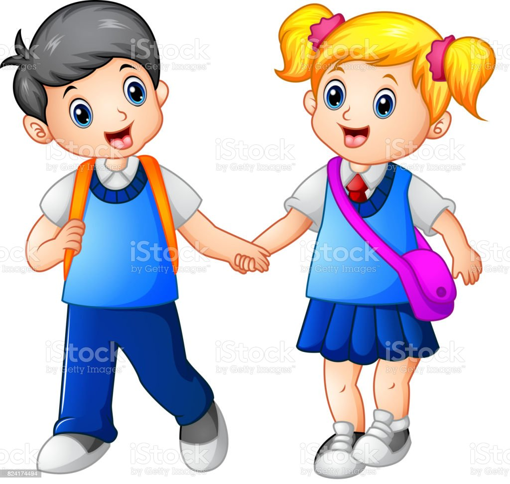 Cartoon girl and boy go to school together vector art illustration