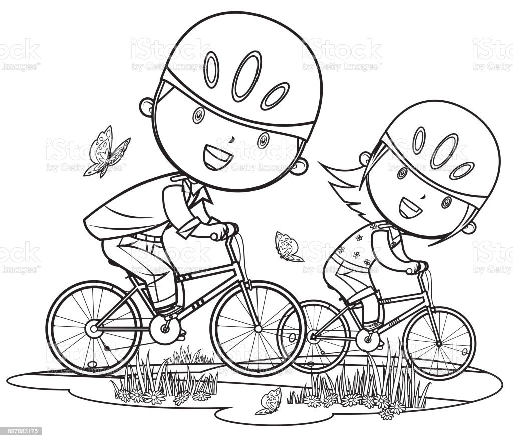 Ilustración de Dibujos Animados De Los Niños Y Niñas En ... Andar En Bicicleta Para Colorear