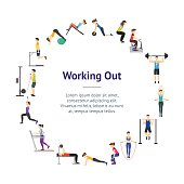 Cartoon Girl and Boy Workout Exercise in Gym Banner Card Circle Body Training Flat Design Style. Vector illustration