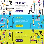 Cartoon Girl and Boy Workout Exercise in Gym Banner Horizontal Set. Vector