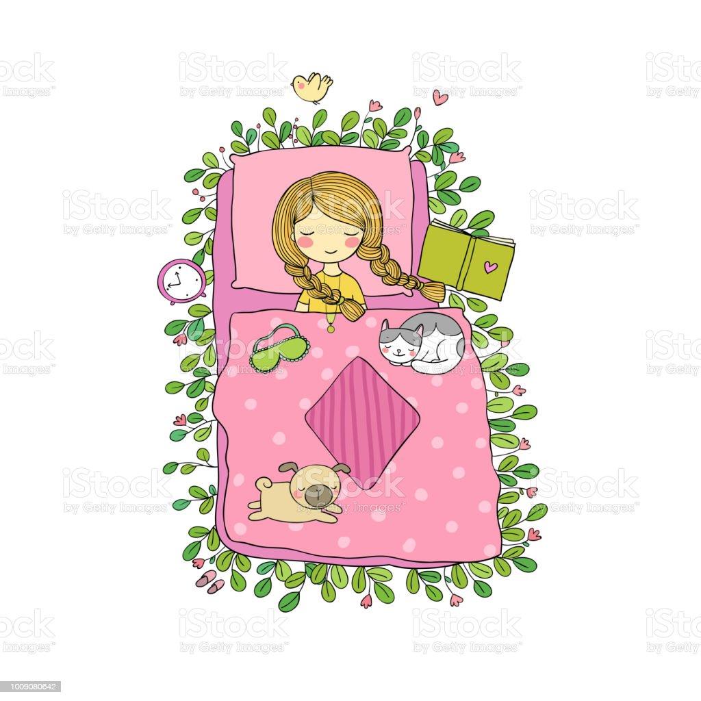 Katze Und Baby Im Schlafzimmer | Ein Cartoon Madchen Und Niedlichen Katzen Schlafen Stock Vektor Art