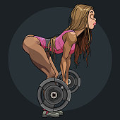 Cartoon pretty girl athlete doing deadlift exercise with barbell. Side view