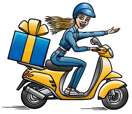 Cartoon girl carries a gift to the customer on a scooter.