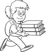Cartoon girl carrying books.