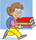 Cartoon girl carrying books with a background.