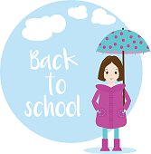 Cartoon girl character with umbrella. Back to school vector background